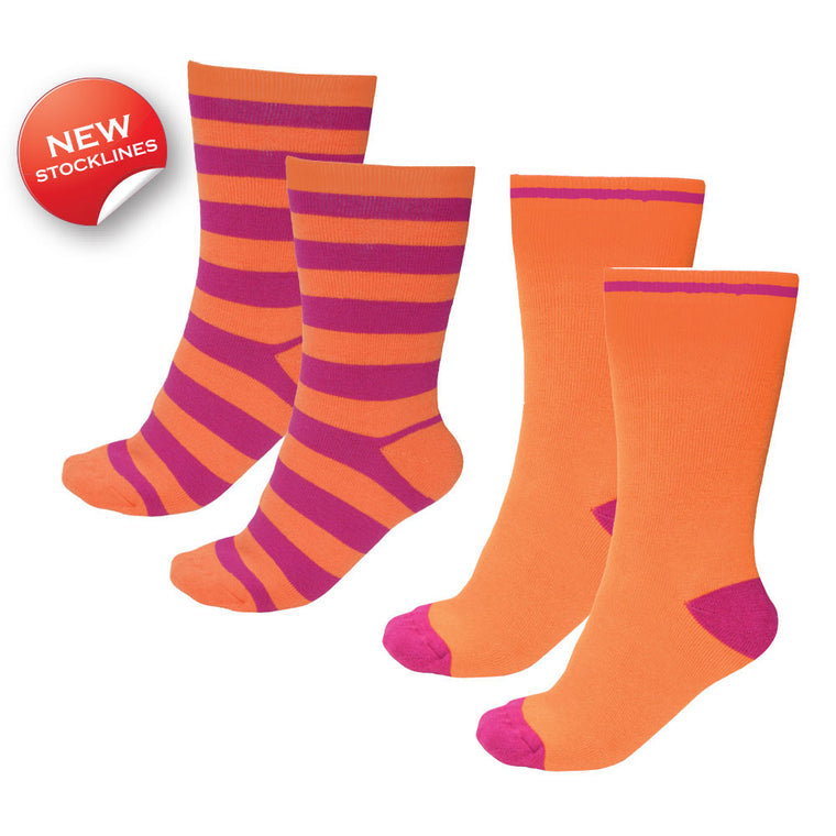 Thomas Cook Thermal Socks - Twin Pack Orange/Fuschia