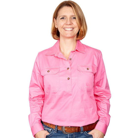 Just Country Womens Jahna Half Button Work Shirt Rose