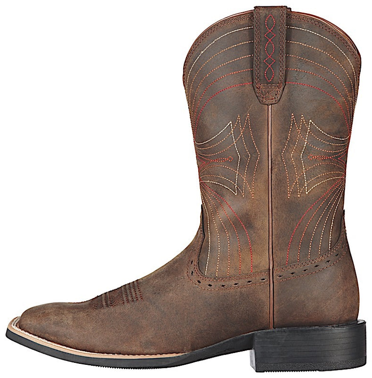 Ariat Mens Sport Wide Square Toe Distressed Brown