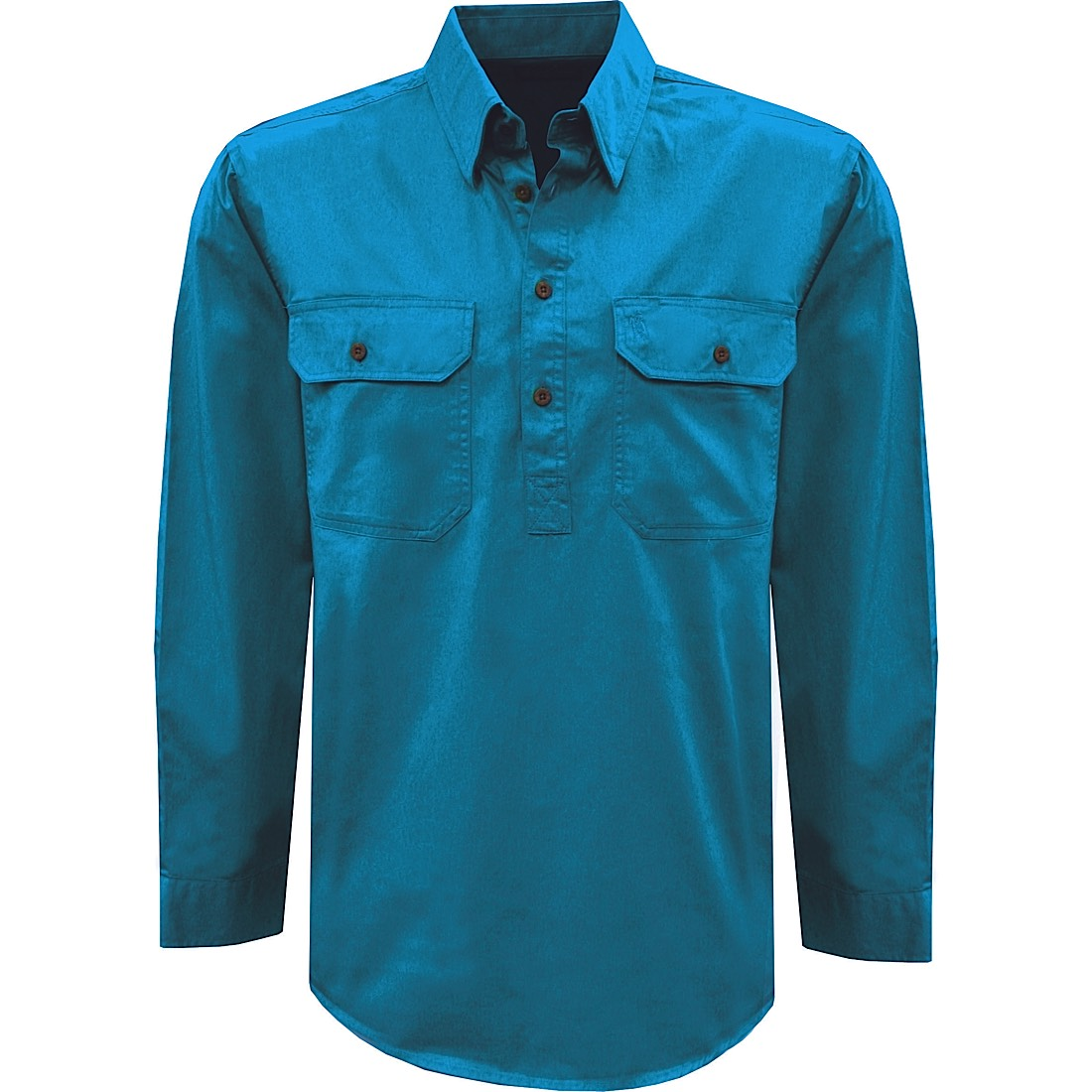 Thomas Cook Womens Heavy Drill 1/2 Plkt L/S 2- Pocket Shirt Aqua