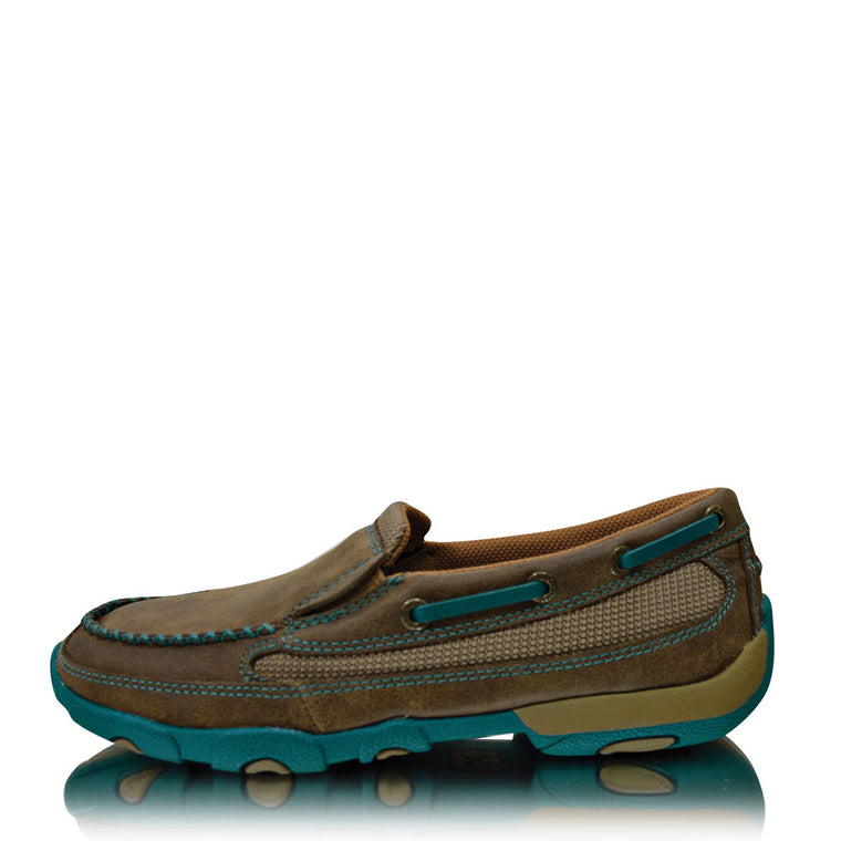 Twisted X Womens Casual Driving Mocs Boat Slip On Bomber/Turquoise