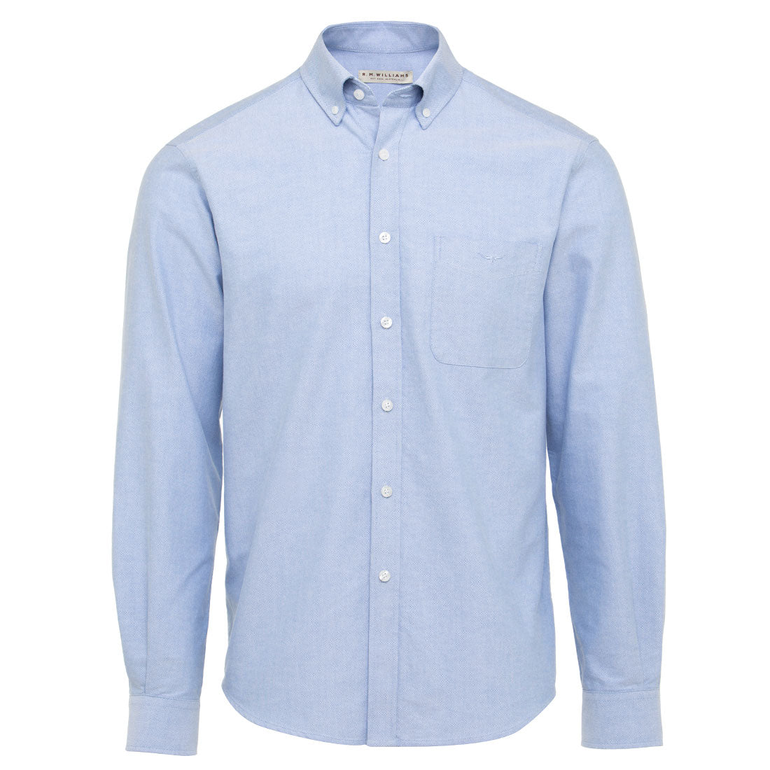 R.M.Williams Collins Shirt Light Blue, Button Down Collar, Big Men