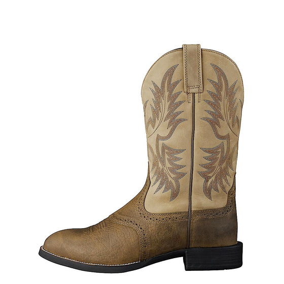 Ariat Heritage Mens Roper Western Boot. Colour Tumbled Brown