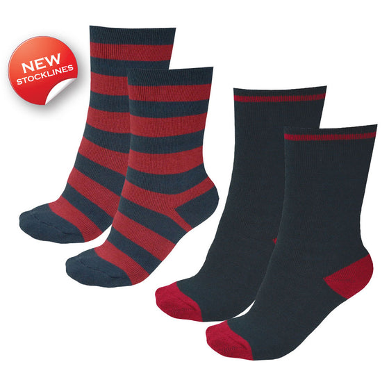 Thomas Cook Kids Thermal Socks Twin Pack Dark Navy/Red