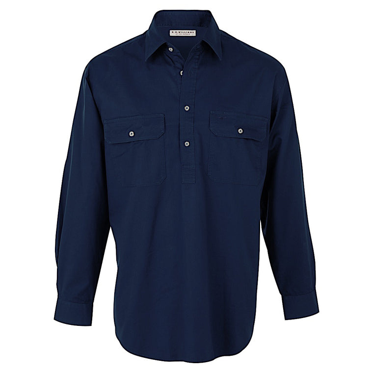 R.M.Williams RMW Angus Shirt Navy Relaxed Fit
