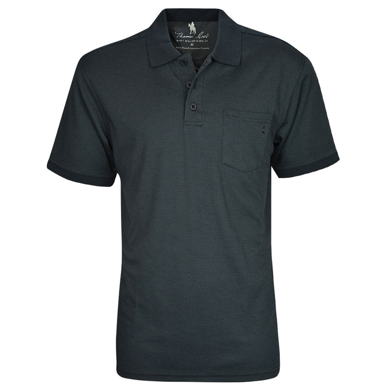 Thomas Cook Mens Bamboo 1 Pocket Polo Dark Charcoal
