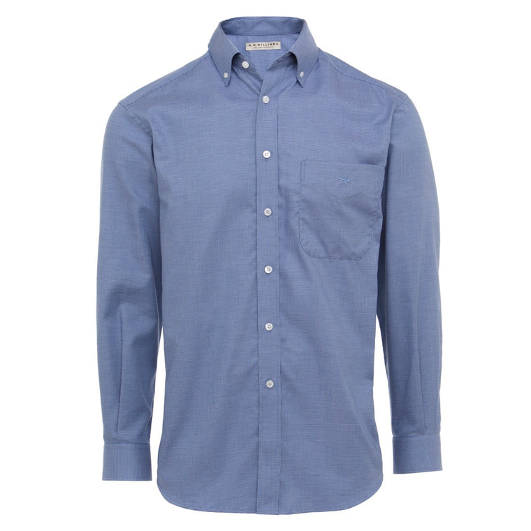 R.M Williams Button Down Collar Single Pocket Mansfield Shirt Soft Blue