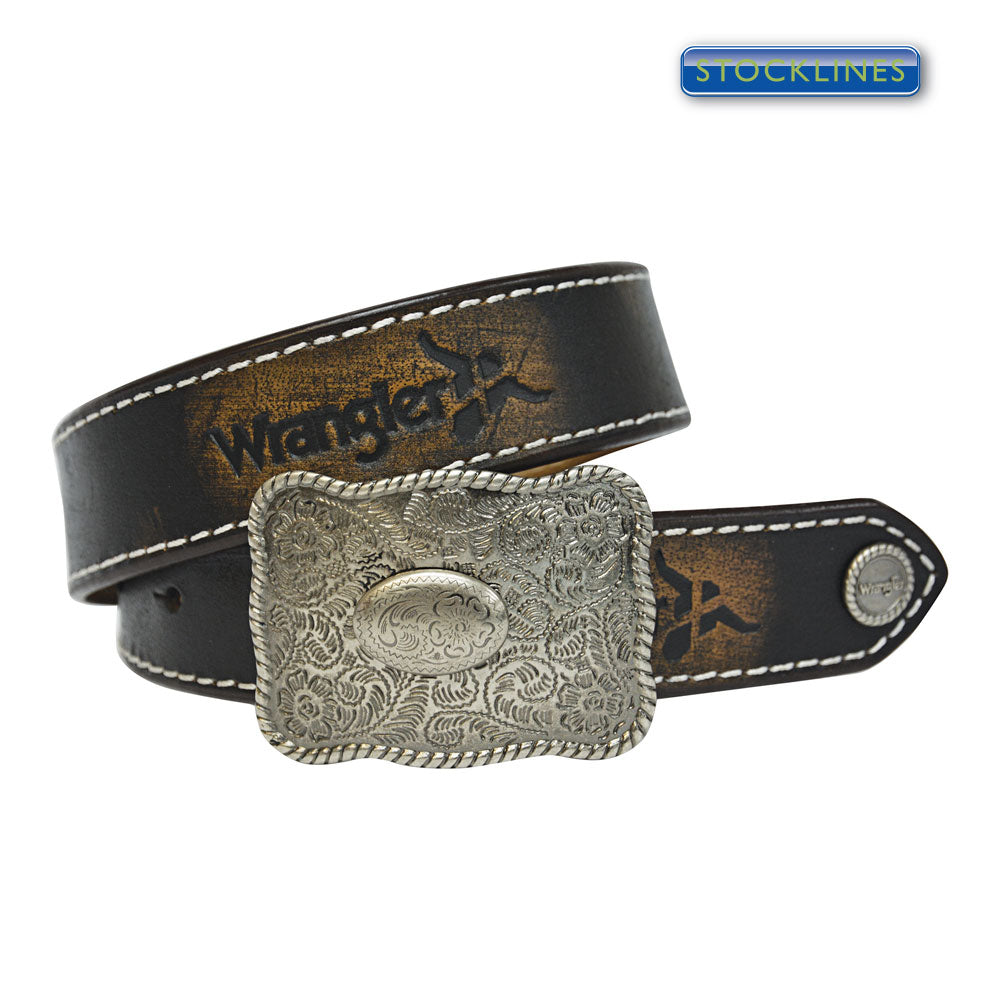 Wrangler Kids Abrasion Logo Belt Brown