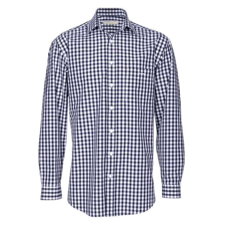 R.M.Williams Collins Shirt Navy/White Check Regular Fit