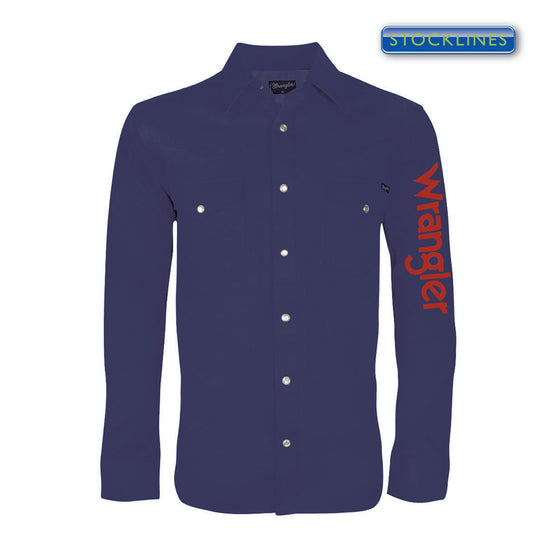 Wrangler Mens Logo Rodeo Shirt Navy - XCP1116020