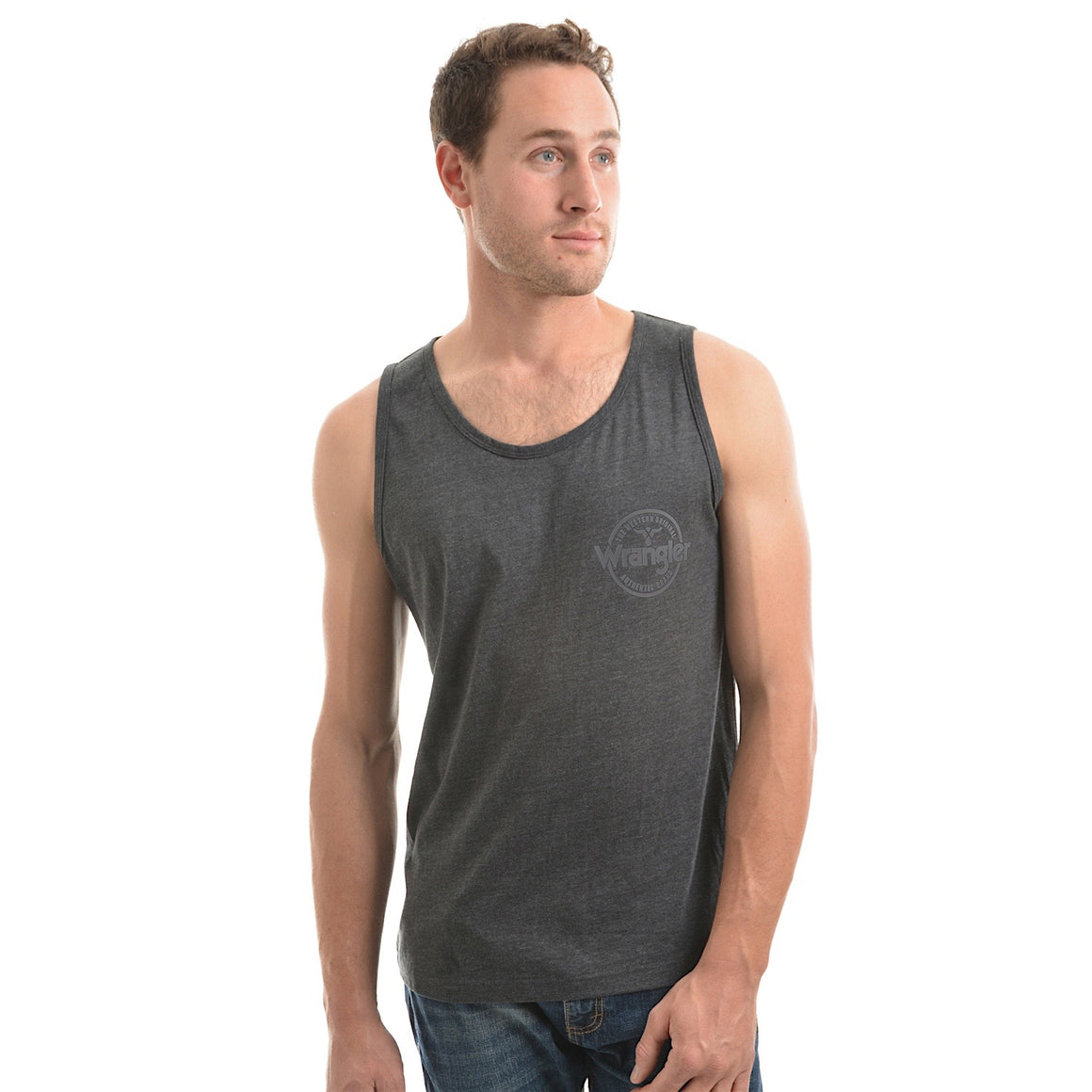 Wrangler Mens Marcus Singlet Charcoal Marle