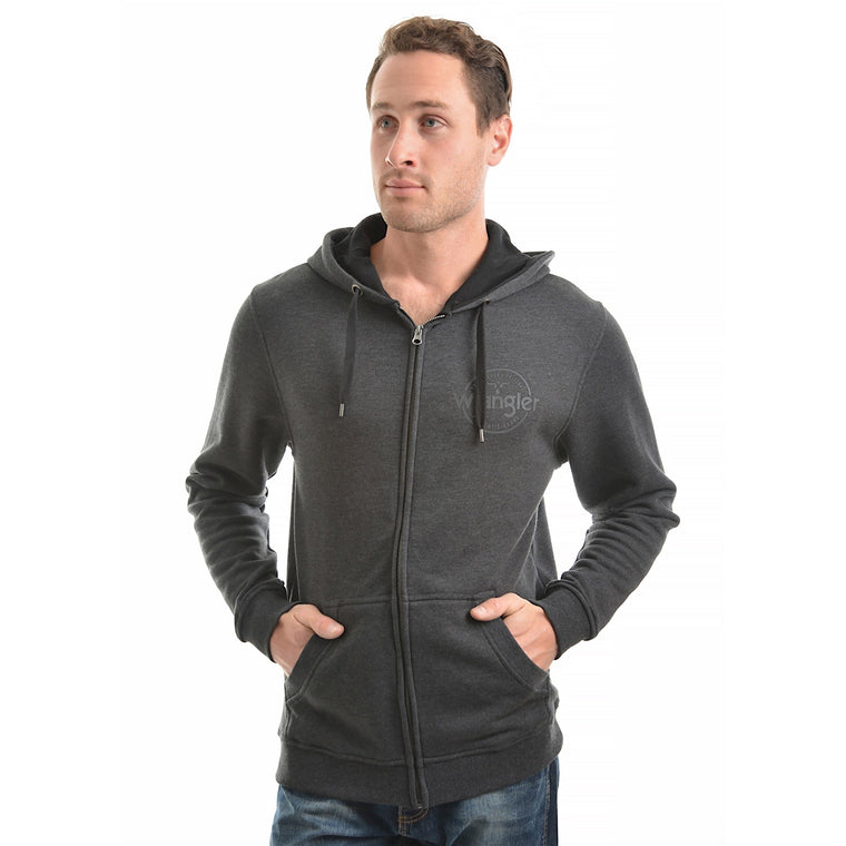 Wrangler Mens Cooper Zip Up Hoodie Charcoal Marle