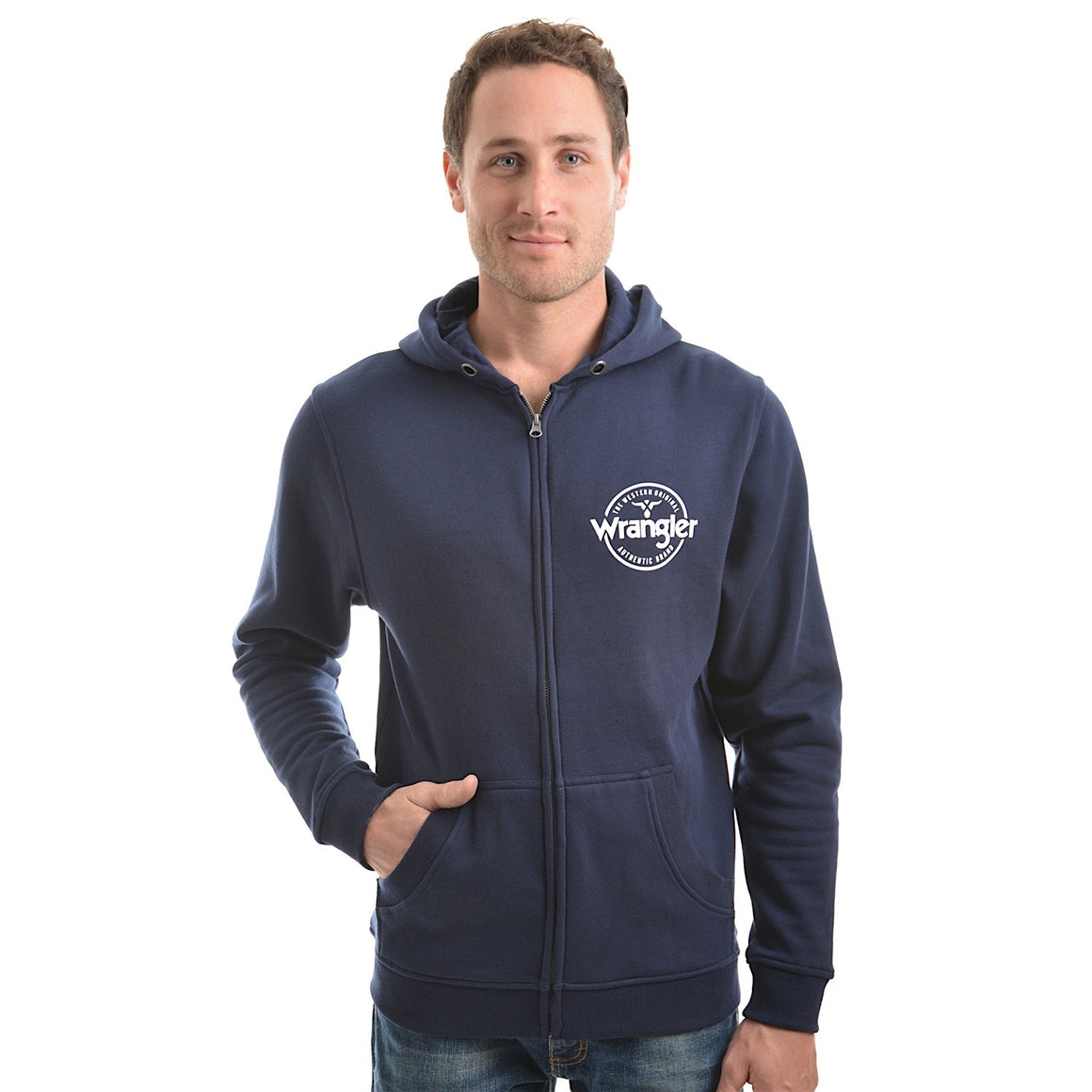 Wrangler Mens Cooper Zip Up Hoodie Navy