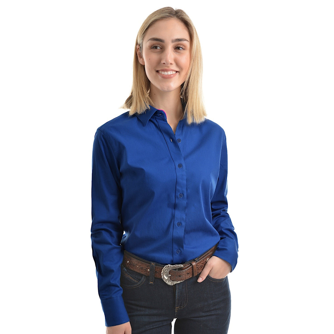 Wrangler Womens Tracey Drill L/S Shirt Royal Blue