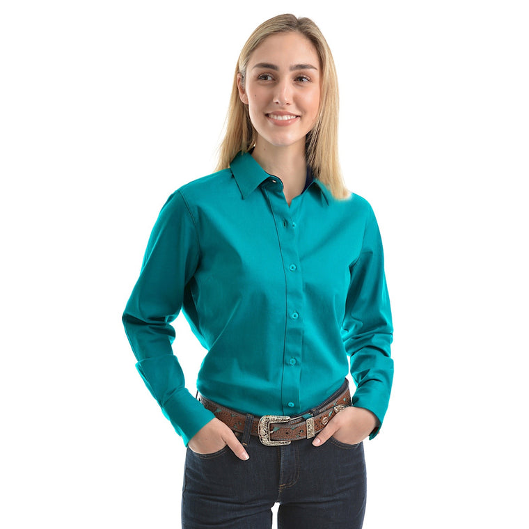 Wrangler Womens Tracey Drill L/S Shirt Teal