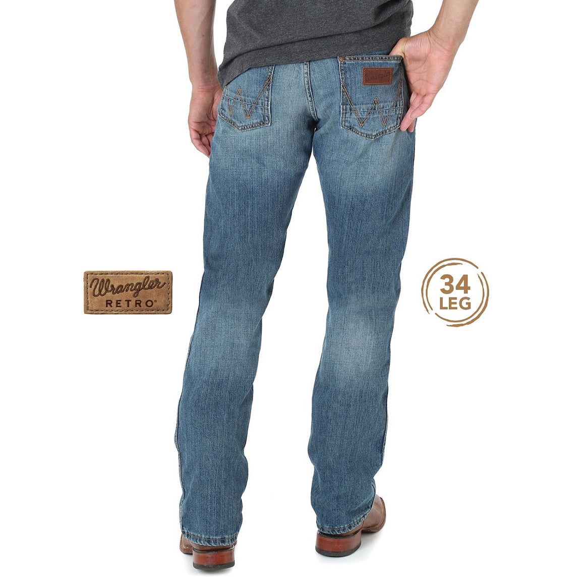 "Wrangler Mens Retro Slim Straight Jean 34"" Leg Rocky Top"