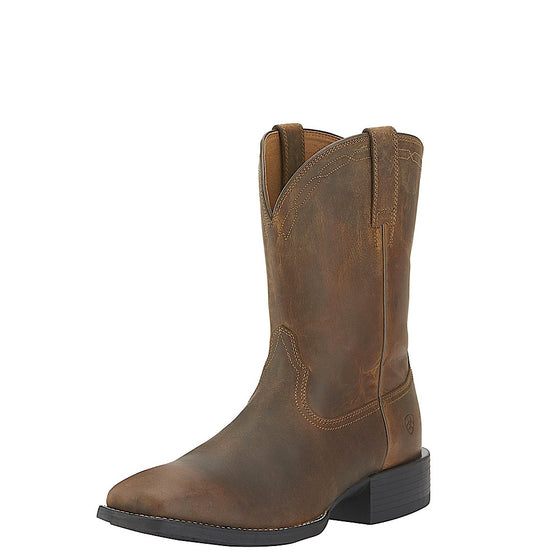 Ariat Mens Heritage Roper Wide Square Toe Powder Brown