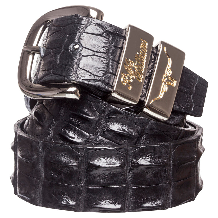 "R.M.Williams Black 1 1/2"" Crocodile Belt"