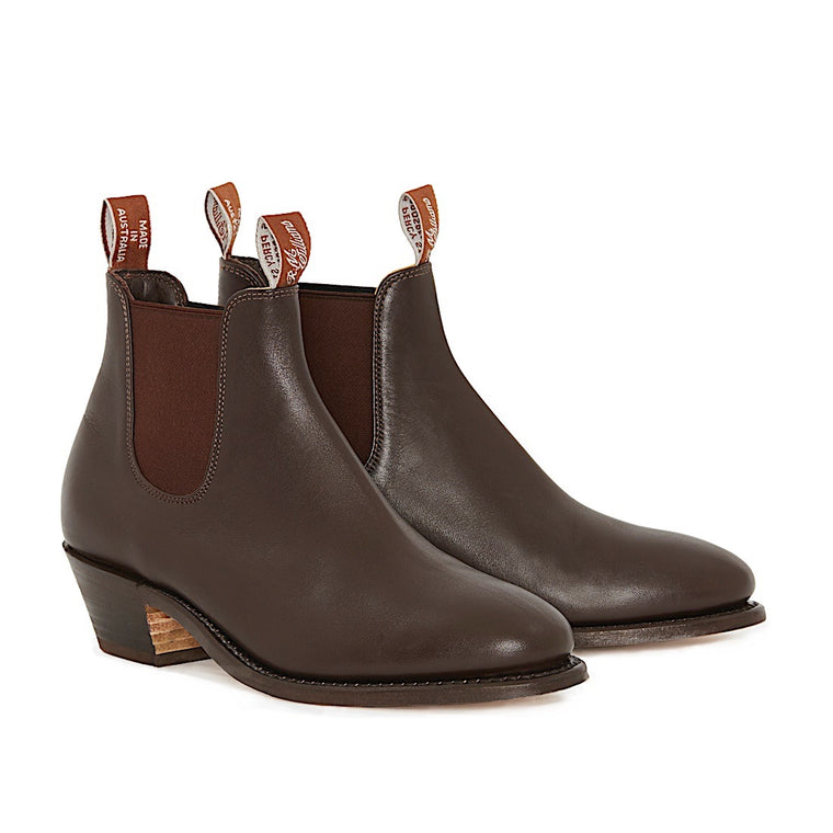 Womens Yearling Adelaide Cuban Heel Leather Sole Boots Chestnut