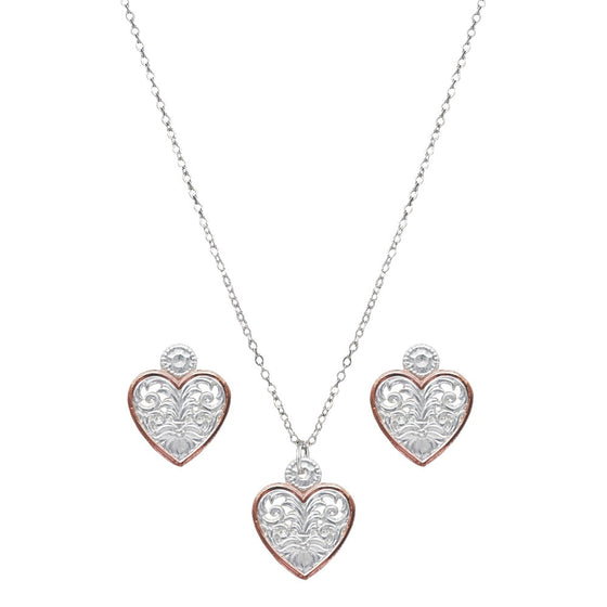 Montanna Western Lace Copper Trimmed Classic Heart  Jewellery Set