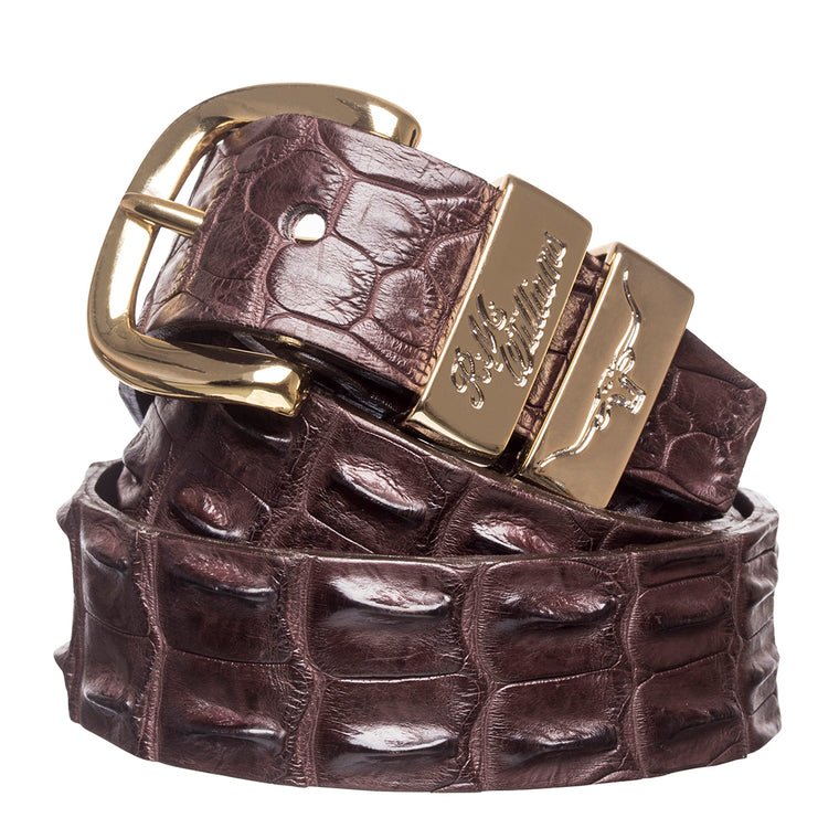 "R.M.Williams Chestnut 1 1/2"" Crocodile Belt"