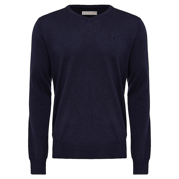 R.M.Williams Harris V Neck Sweater Regular Fit Navy