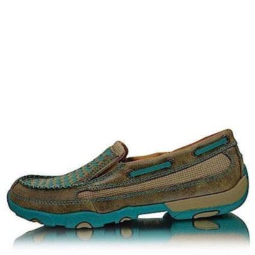 Twisted X Womens Casual Driving Moc Low Slip On D Toe Bomber/Turquoise
