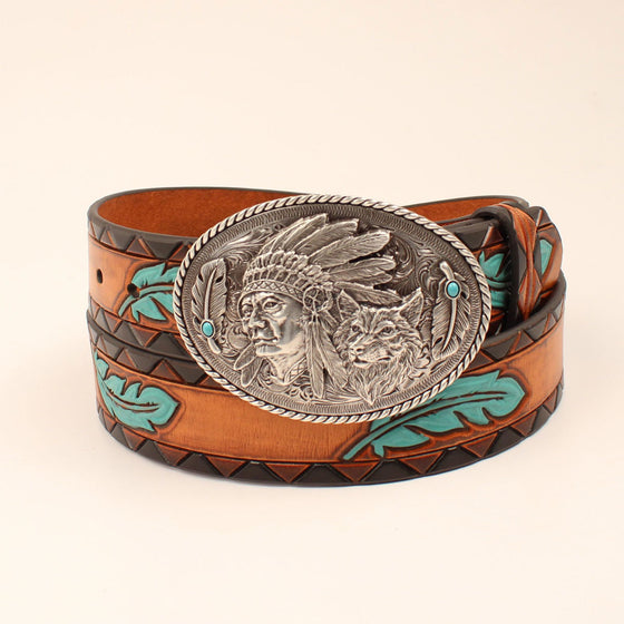 Ariat Womens Western Belt Tan Turquoise
