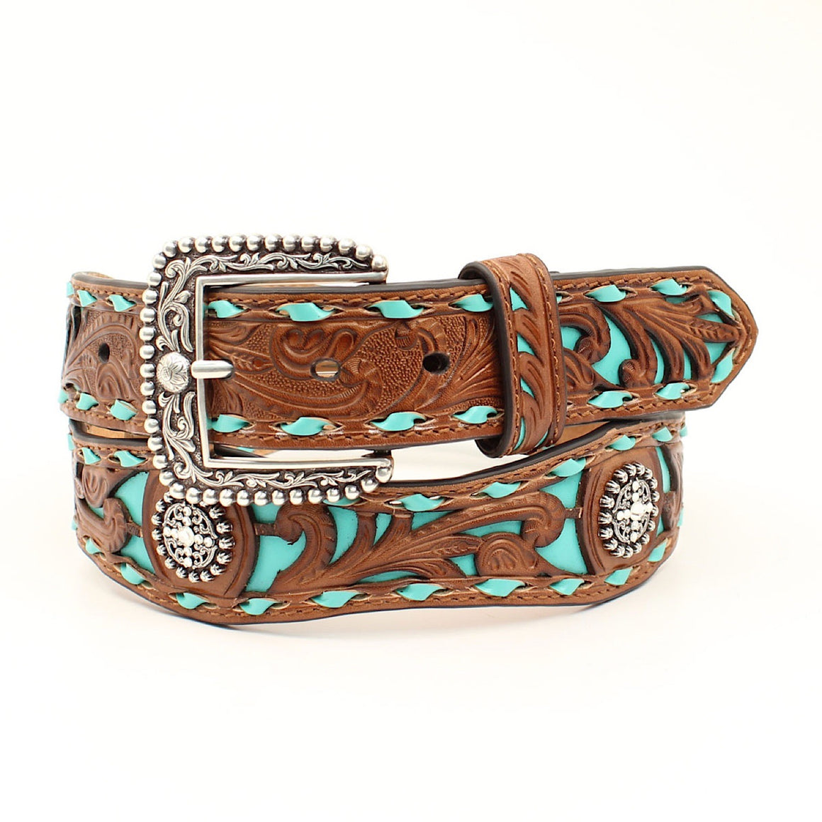 Ariat Womens Western Belt Dark Tan /Turquoise