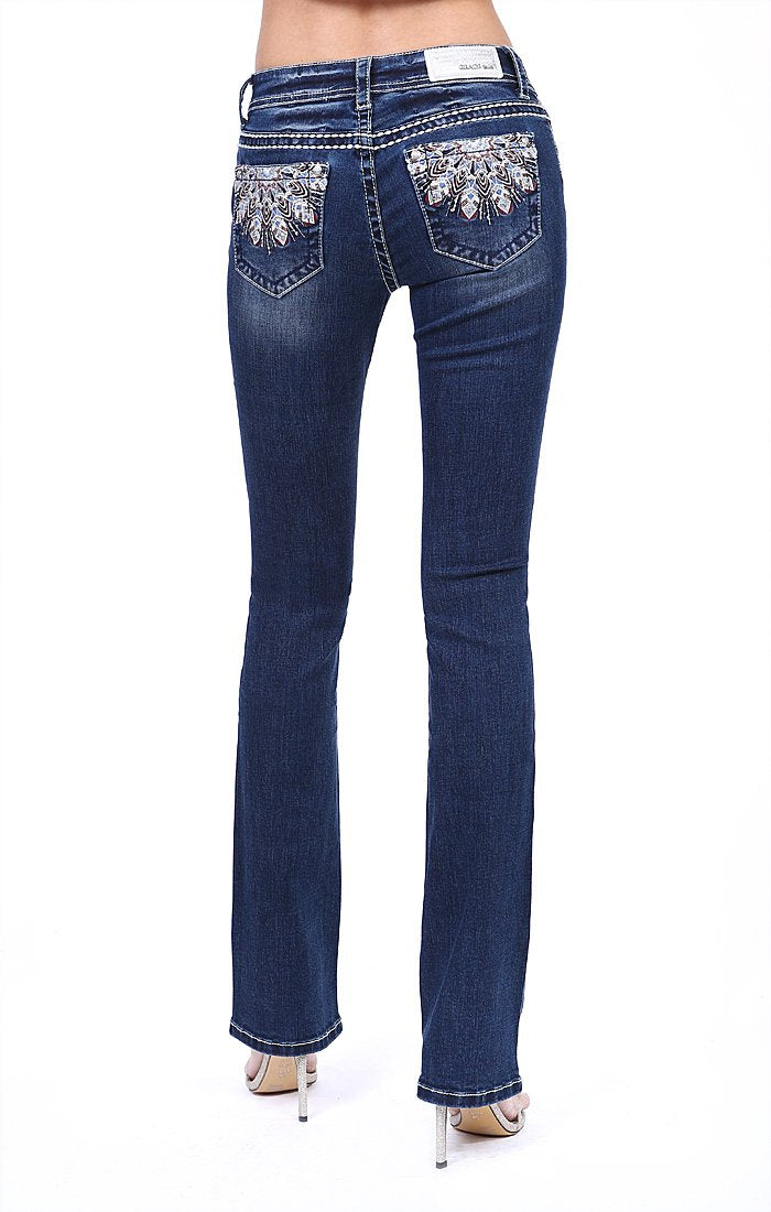 Grace In La Dark Wash Feather Embellished Easy Fit Bootcut Jean EB3302