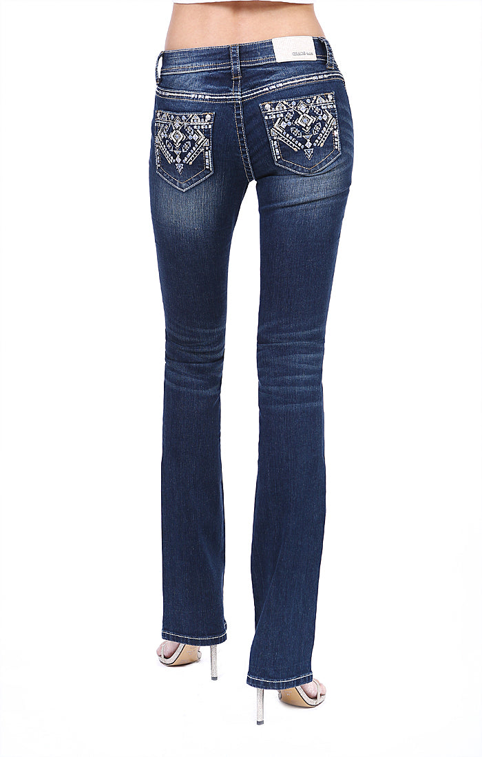Grace In La Dark Wash Aztec Embroidered Easy Fit Bootcut Jean EB81358