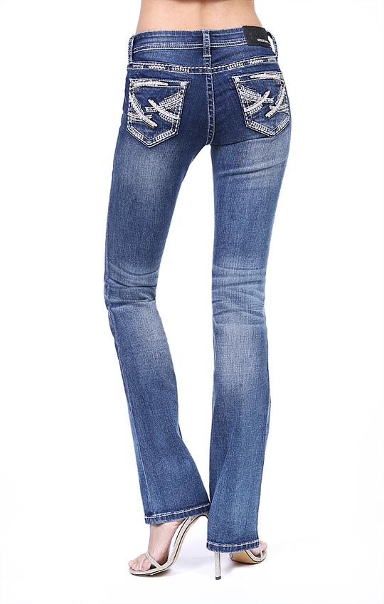 Grace In La Stitched Easy Fit Bootcut Jeans EB81365