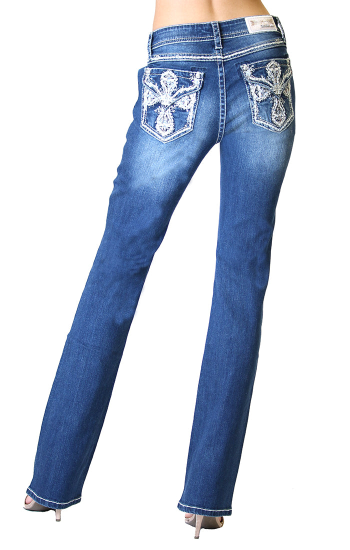 Grace In La  Easy Fit Bootcut Jean Cross Embellished EB51387