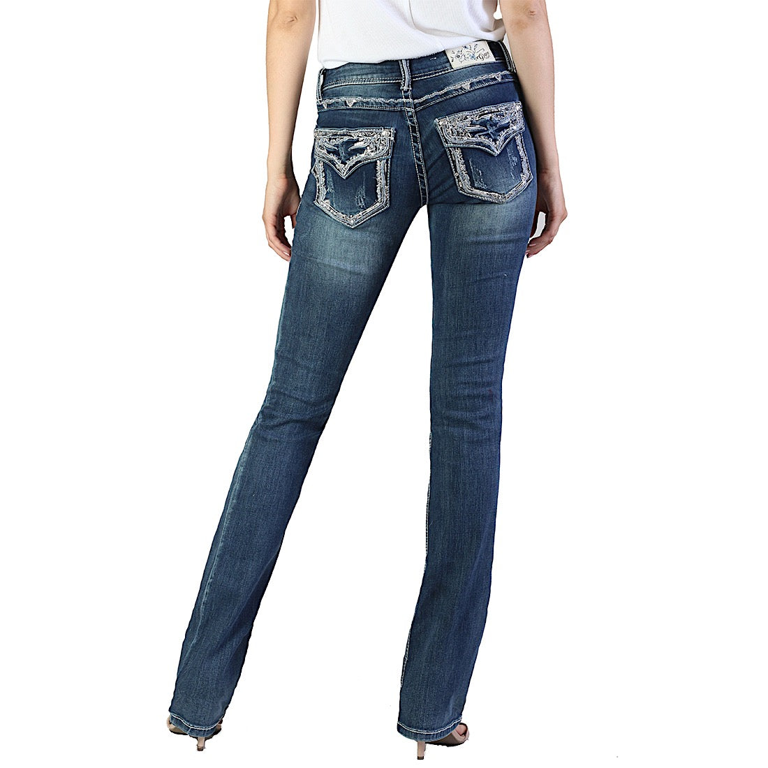 Grace In La  Easy Fit Bootcut Jean Boarder Flap EB61203