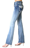 Grace In La  Easy Fit Bootcut Jean Chevron Embellished Faux Flap Pocket EB71024