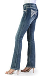 Grace In La Distressed Wash Easy Fit Bootcut Jean Cross Embroidery  EB81194SL