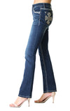 Grace In La  Easy Fit Bootcut Jean Cross Embellished Dark Wash EB81283
