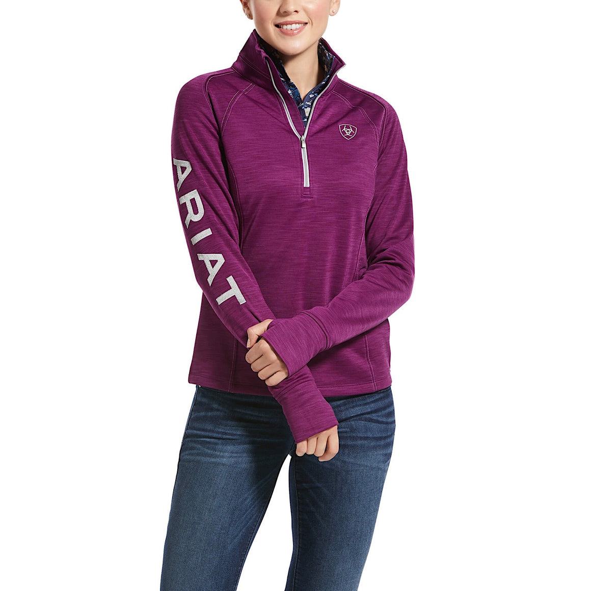 Ariat Womens Tek Team 1/2 Zip Sweatshirt Imperial Violet Heather
