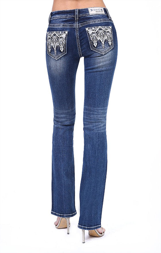 Grace In La Bling Embellished Junior Boot Cut Jeans JB61238