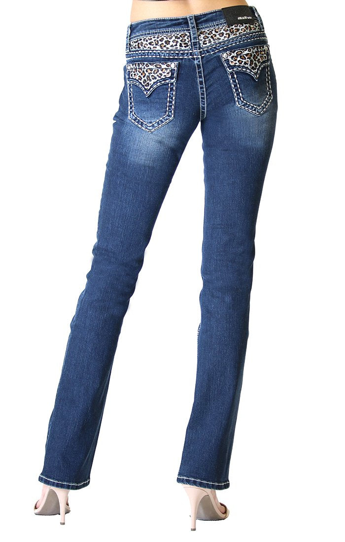 Grace In La  Leopard Print Embroidered Yoke and Flap Pocket Easy Fit Bootcut Jeans EB81394