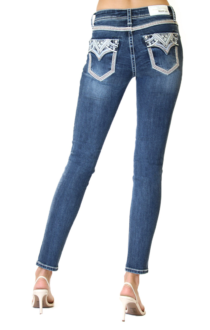 Grace In La Embellished Faux Flap Pocket Low Rise Skinny Jeans JNWS300