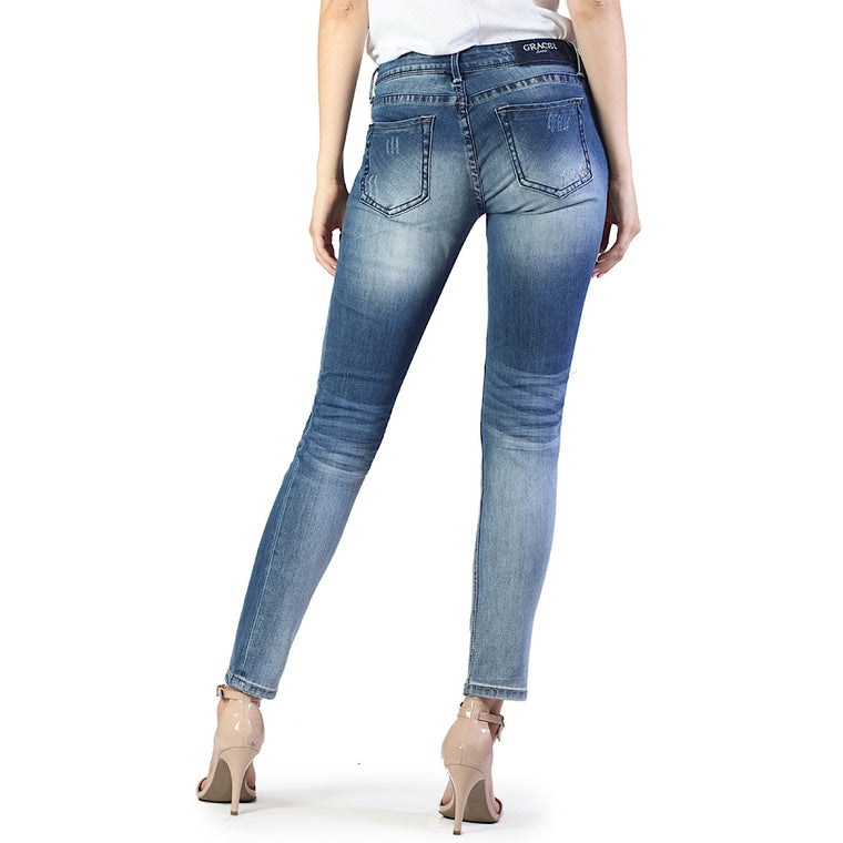 Grace In La Distressed Wash Skinny Plain LT Jeans  JNW9256
