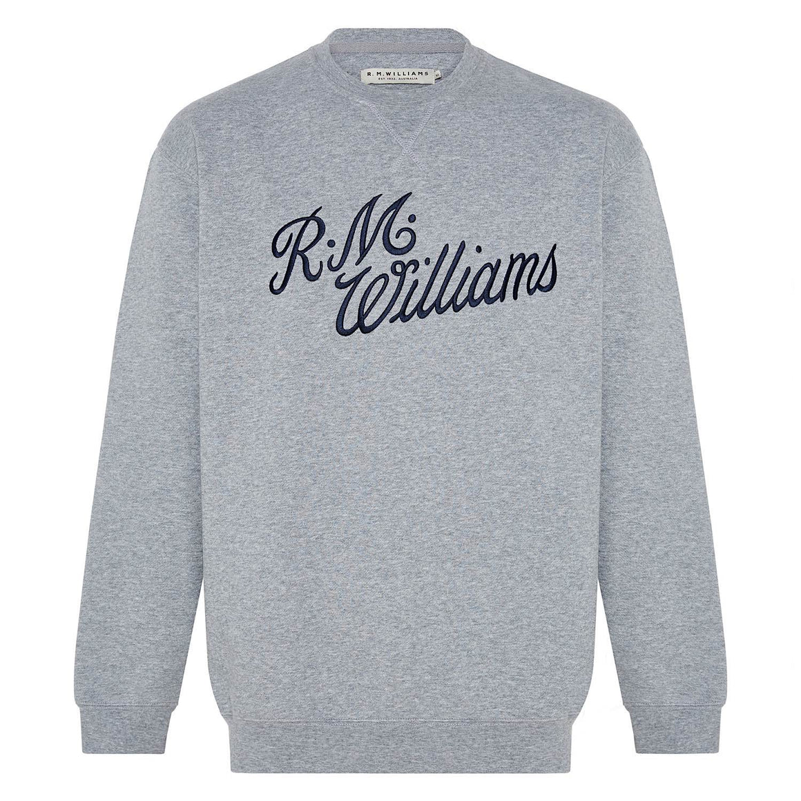 R.M.Williams Script Crew Neck Fleece Jumper Regular Fit Grey Blue