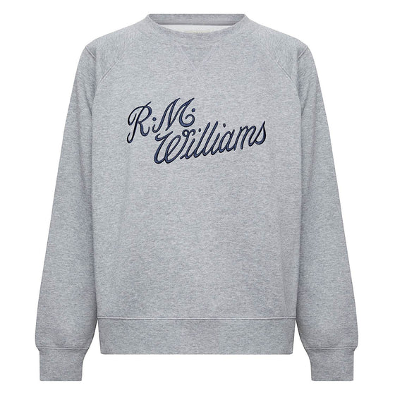 R.M.Williams Womens Script Crew NeckJumper Grey/Blue