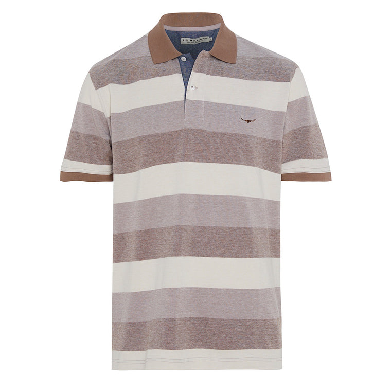 R.M.Williams Rod Polo Block Stripe Tan Bone
