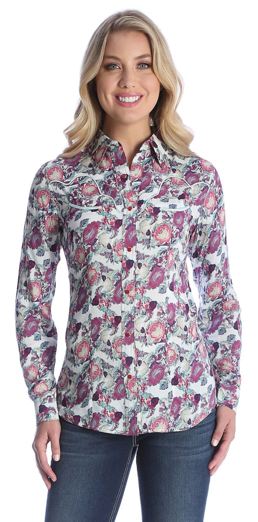 Wrangler USA Womens 2 - Pocket Print Shirt Cream/Rose/Green *