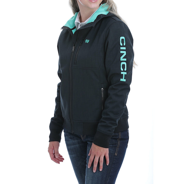 Cinch Womens Bonded Hoodie Black /Turquoise
