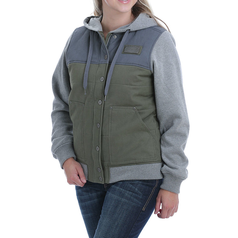 Cinch Womens Hoodie Jacket Olive/Blue