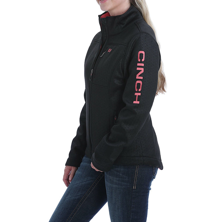 Cinch Womens Concealed Carry Embossed Bonded Jacket Black/Coral