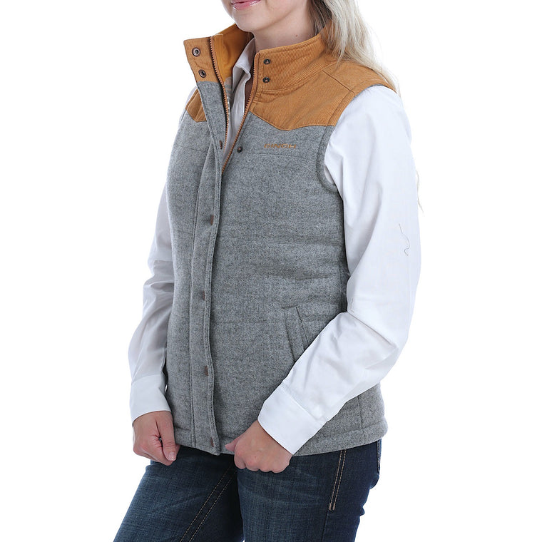 Cinch Womens Tweed Vest Gray/Brown